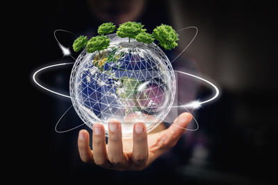 Poster earth in hands - environment concept - elements of this image furnished by NASA - Image