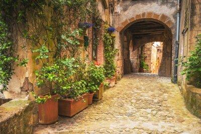 Poster Ecken der toskanischen mittelalterlichen Städte in Italien
