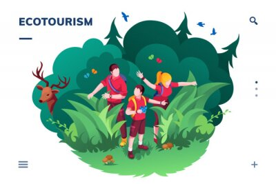 Poster Ecotourism screen for smartphone application or eco tourism landing page. Family walking at wood or forest. Traveling and hiking activity banner. Ecology app and green concept. Recreation and summer