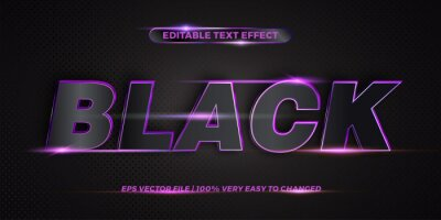 Poster Editable 3d text effect styles mockup concept - Dark blue words with Gradient Black color