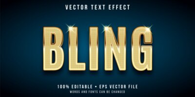 Poster Editable text effect - golden bling style
