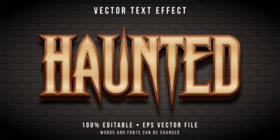 Poster Editable text effect - haunted castle style