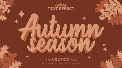 Poster Editable text style effect - autumn text with maple leaves illustration