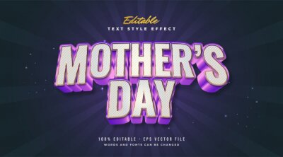 Poster . Editable Text Style Effect Mother's Day Text in Colorful and Metallic Style with Embossed Effect