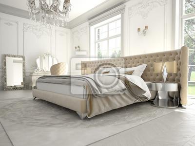 Edles schlafzimmer wandposter • poster Bettzeug, Kandelaber, Schemel ...