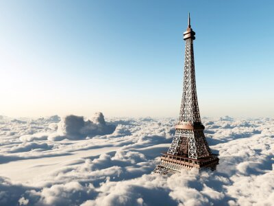 Poster Eiffel tower above the clouds
