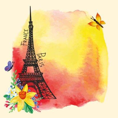 Poster Eiffelturm, Aquarell Fleck, Narcissus bouquet.Paris Karte