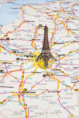 Karte Paris.Poster Eiffelturm In Paris Auf Der Karte