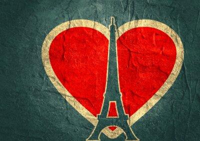 Poster Eiffelturm in Paris. Konturschattenbild. Gradient strahlende Kulisse
