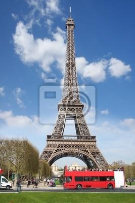 Eiifel Turm mit roten Bus, Frankreich, Paris