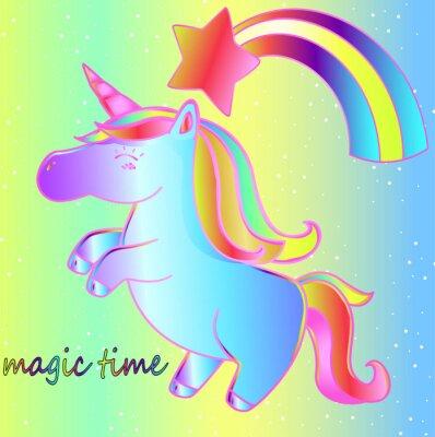 Poster Ein Einhorn und ein Regenbogen auf einem hellen Neonhintergrund ist eine magische Zeit. Märchenhaftes Plakat der hellen Kinder