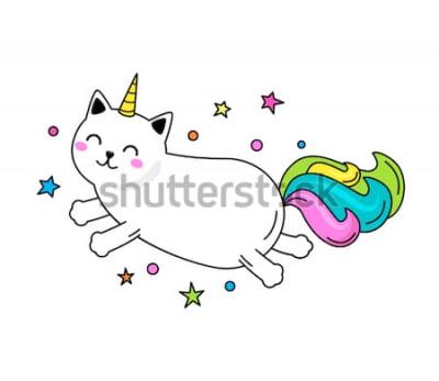 Poster Ein lustiger Einhornkatzencharakter springt über den Himmel. Flache Vektor-Illustration