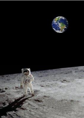 Poster Ein Mondspaziergang unter der glänzenden Erde (einige Elemente mit freundlicher Genehmigung der Nasa)