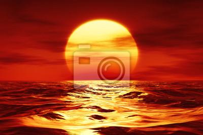 Poster ein Sonnenuntergang über dem wilden Meer
