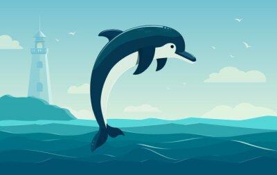 Poster Ein springender Delphin, blauer Seehintergrund mit Wellen und Leuchtturm. Abbildung