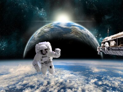Poster Ein Team von Astronauten arbeitet an einer Raumstation - Elemente dieses Bildes von der NASA eingerichtet.
