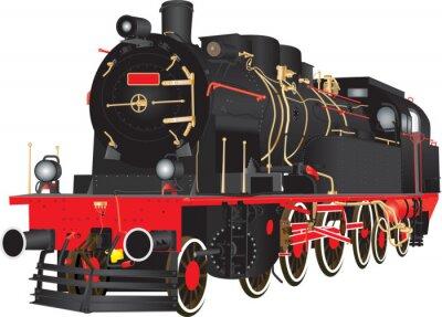 Poster Ein Veteran Heavy Steam Freight Eisenbahn Lokomotive isoliert auf weiß