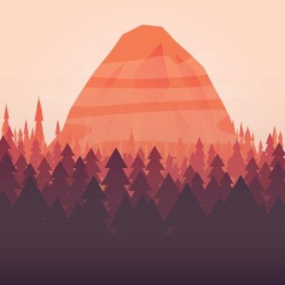 Poster Ein Wald und Berg Sonnenuntergang Story Hintergrund