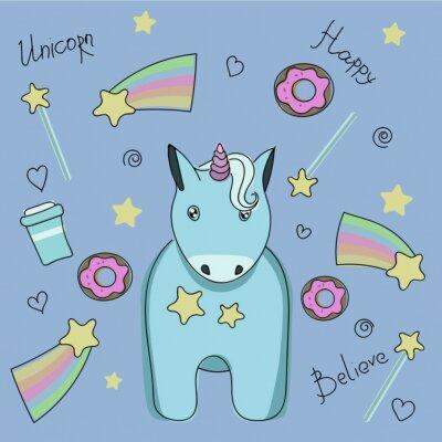 Poster Eine Reihe von Aufklebern mit Einhorn, Süßigkeiten und Sternen.