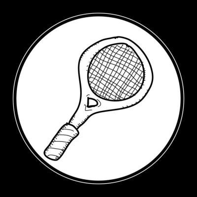 Poster Einfache doodle eines Tennisschlägers