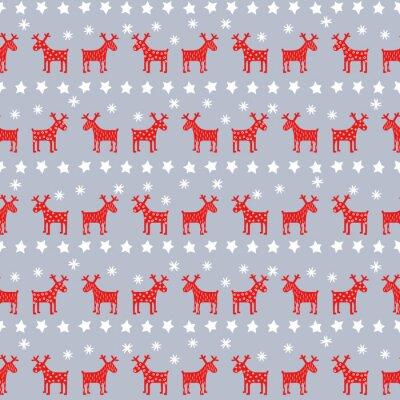 Poster Einfache nahtlose Retro-Muster Weihnachten - Xmas Rentiere, Sterne und Schneeflocken. Frohes Neues Jahr Hintergrund. Vektor-Design für einen Urlaub im Winter auf grauem Hintergrund.