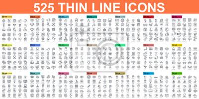 Poster Einfache Reihe von Vektor-dünne Linie Symbole. Enthält solche Symbole wie Business, Marketing, Einkaufen, Banking, E-Commerce, SEO, Technologie, Medizin, Bildung, Web-Entwicklung und vieles mehr. Line