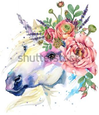 Poster Einhorn. Aquarell Blumenstrauß Illustration. Fantasy-Hintergrund. weißes Pferd.