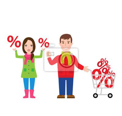 Poster Einkaufen. Mann mit Einkaufswagen. Frau mit Prozent sign.christmas Einkaufen. Isoliert auf weißem Hintergrund