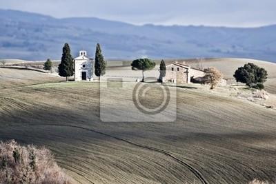 Einsame Kirche, Val d'Orcia (Italien).