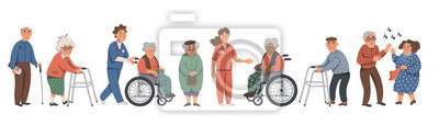Poster Elderly people and social workers. Grandparents and nurses on a white background. Vector illustration in a flat style.