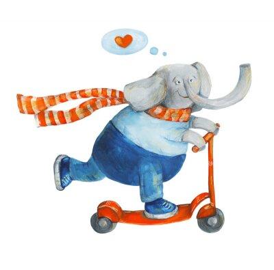 Poster Elefant auf Roller mit Herz. Liebe. Aquarell und gouache Abbildung