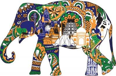Poster Elefanten mit indischen Symbolen