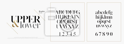 Poster Elegant alphabet letters font set. Classic Custom Lettering Designs for logo, Poster. Typography fonts classic style, regular uppercase, lowercase and number. vector illustration