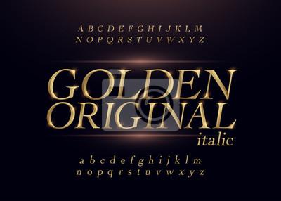 Poster Elegant gold colored metal chrome alphabet italic font. Typography classic style golden font set for logo, Poster, Invitation. Vector illustration