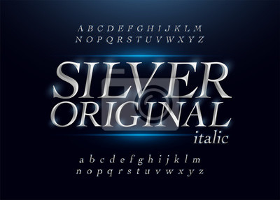 Poster Elegant silver colored metal chrome alphabet italic font. Typography classic style silver font set for logo, Poster, Invitation. Vector illustration