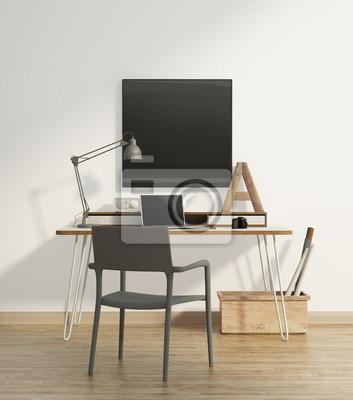 Elegante beige home-office-interieur mit sessel grau wandposter ...