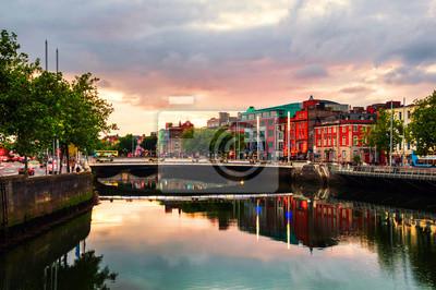 Embankment of Liffey River in Dublin, Ireland