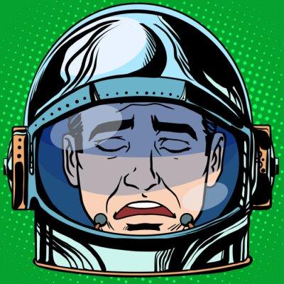 Poster Emoticon traurigkeit emoji gesicht mann astronaut retro