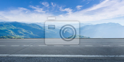 Poster Empty highway asphalt road and beautiful sky mountain landscape