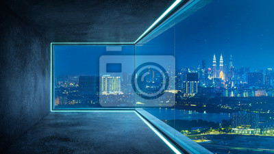 Poster Empty loft unfurnished contemporary interior office with city skyline and buildings city from glass window .