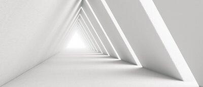 Poster Empty Long Light Corridor. Modern white background. Futuristic Sci-Fi Triangle Tunnel. 3D Rendering