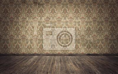 Poster Empty old vintage room background. 3d rendering