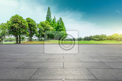 Poster Empty square floor and green trees natural landscape