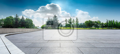 Poster Empty square floor and green woods natural scenery in city park