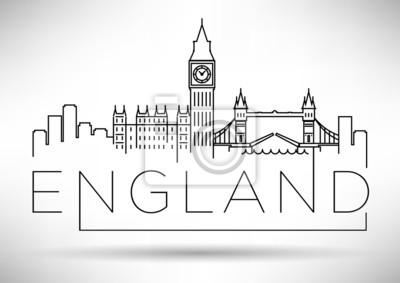 England Line Silhouette Typographic Design