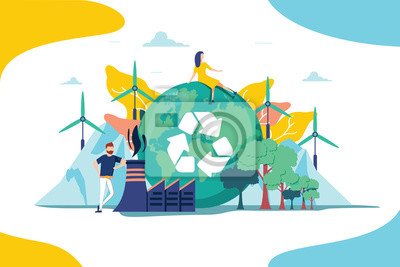 Poster Environment vector illustration. Renewable nature resources collection for earth sustainability. People effect climate
