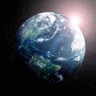 Poster Erde im Raum zeigt Europa, Asien und Afrika