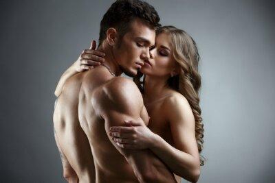 Poster Erotica Umarmung von attraktiven nackten Paar