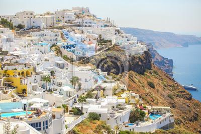 Erstaunliche Ansicht des Firostefani Dorf in Santorini, Griechenland