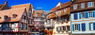 Erstaunliche Colmar-traditionelle Blumenstadt im Elsass, Frankreich